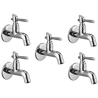 Oleanna Fancy Brass Bib Tap With Wall Flange (Disc Fitting | Quarter Turn | Form Flow) Chrome - Pack Of 5 Nos