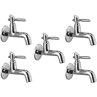 Oleanna Fancy Brass Long Nose Bib Cock With Wall Flange Long Body Tap (Disc Fitting | Quarter Turn | Form Flow) Chrome - Pack Of 5 Nos