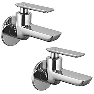 Oleanna Golf Brass Long Nose Bib Cock With Wall Flange Long Body Tap (Disc Fitting | Quarter Turn | Form Flow) Chrome - Pack Of 2 Nos
