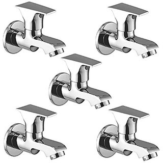 Oleanna Global Brass Bib Tap With Wall Flange (Disc Fitting | Quarter Turn | Form Flow) Chrome - Pack Of 5 Nos