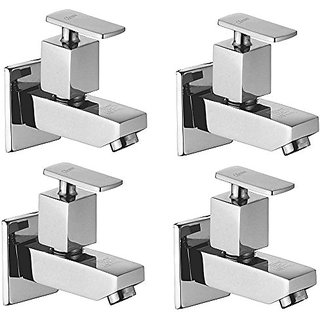 Oleanna Kubix Brass Bib Tap With Wall Flange (Disc Fitting | Quarter Turn | Form Flow) Chrome - Pack Of 4 Nos