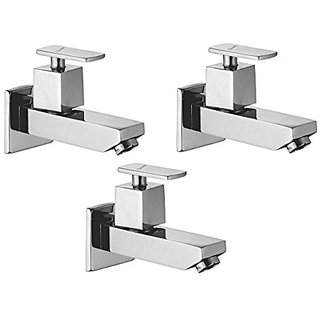 Oleanna Kubix Brass Long Nose Bib Cock With Wall Flange Long Body Tap (Disc Fitting | Quarter Turn | Form Flow) Chrome - Pack Of 3 Nos