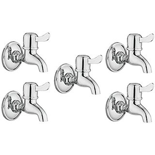 Oleanna Magic Brass Bib Tap With Wall Flange (Disc Fitting | Quarter Turn) Chrome - Pack Of 5 Nos