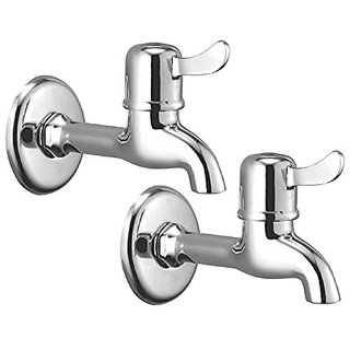 Oleanna Magic Brass Long Body Bib Tap With Wall Flange (Disc Fitting | Quarter Turn) Chrome - Pack Of 2 Nos