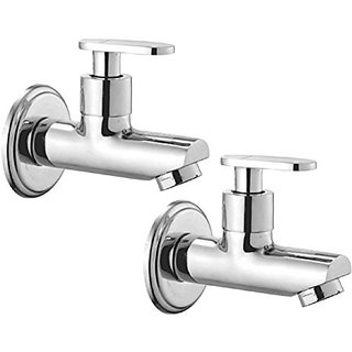 Oleanna Metroo Brass Bib Tap With Wall Flange (Disc Fitting  Quarter Turn  Form Flow) Chrome - Pack Of 2 Nos