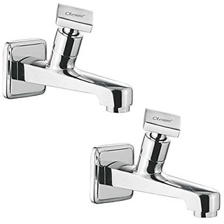 Oleanna Melody Brass Long Nose Bib Cock With Wall Flange Long Body Tap (Disc Fitting  Quarter Turn  Form Flow) Chrome - Pack Of 2 Nos