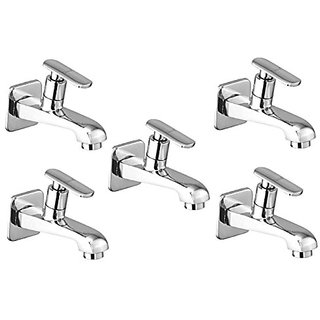 Oleanna Speed Brass Long Nose Bib Cock With Wall Flange Long Body Tap (Disc Fitting  Quarter Turn  Form Flow) Chrome - Pack Of 5 Nos