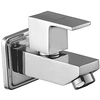 Oleanna Square Brass Bib Tap With Wall Flange (Disc Fitting  Quarter Turn  Form Flow) Chrome