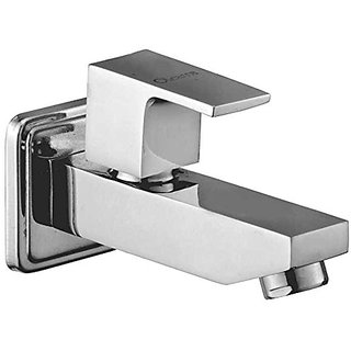 Oleanna Square Brass Long Nose Bib Cock With Wall Flange Long Body Tap (Disc Fitting  Quarter Turn  Form Flow) Chrome