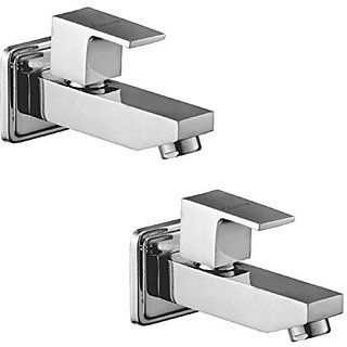 Oleanna Square Brass Long Nose Bib Cock With Wall Flange Long Body Tap (Disc Fitting  Quarter Turn  Form Flow) Chrome - Pack Of 2 Nos