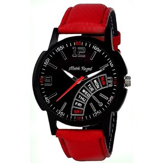 Mark Regal Black Round Dial Red Leather Strap Analog Watch For Men