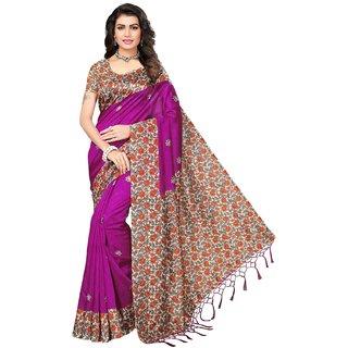 Meia Pink Bhagalpuri Cotton Silk Printed Saree With Blouse