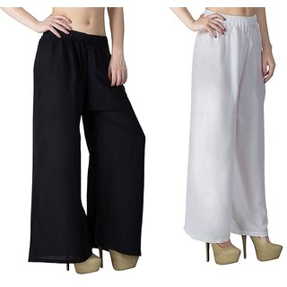 Riya Daily wear White  Black colour of palazzo pant and trousers on 299