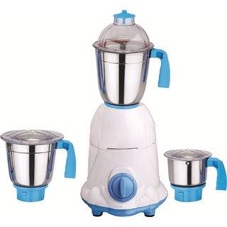 SilentPowerSunmeet Arwa 600 Watts 3 Jar Mixer Grinder (White & Blue)