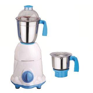 SilentPowerSunmeet Arwa 600 Watts 2 Jar Mixer Grinder (White & Blue)