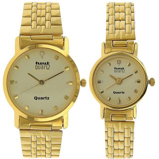 HWT Quartz Gold Plated Couple Watches Combo Pack Of 2pcs