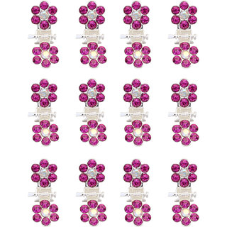 Yashasvi designer 12 pcs set purple Flower Shaped Claw Type Hair Clips For Little Girls
