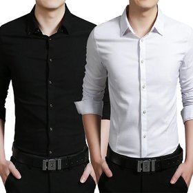 US Pepper Black  White Casual Cotton Shirt (Pack of 2)