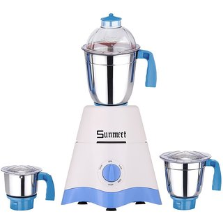 Sunmeet Star 600 Watts 3 Jar Mixer Grinder (White & Blue)
