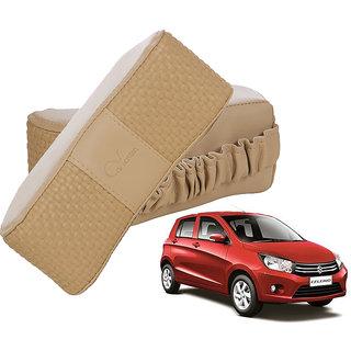Auto Addict CV Designer Beige Neck Leatherite Car Pillow Cushion 2 Pcs for Maruti Suzuki Celerio