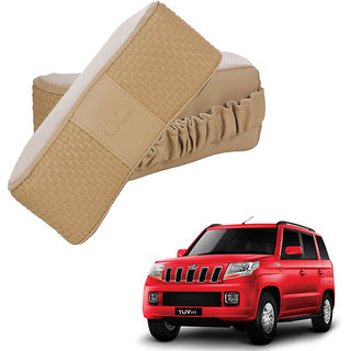 Auto Addict CV Designer Beige Neck Leatherite Car Pillow Cushion 2 Pcs for Mahindra TUV-300