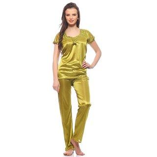 Klick2Style Women's Satin Parrot Green Night Suit