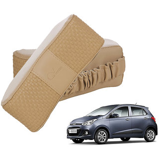 Auto Addict CV Designer Beige Neck Leatherite Car Pillow Cushion 2 Pcs for Hyundai Grand i10