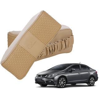 Auto Addict CV Designer Beige Neck Leatherite Car Pillow Cushion 2 Pcs for Honda Civic