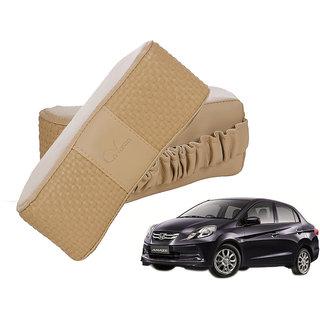 Auto Addict CV Designer Beige Neck Leatherite Car Pillow Cushion 2 Pcs for Honda Amaze Old (2013-2017)