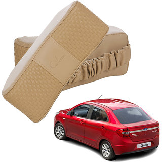 Auto Addict CV Designer Beige Neck Leatherite Car Pillow Cushion 2 Pcs for Ford Figo Aspire