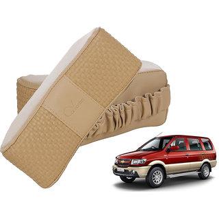 Auto Addict CV Designer Beige Neck Leatherite Car Pillow Cushion 2 Pcs for Chevrolet Tavera