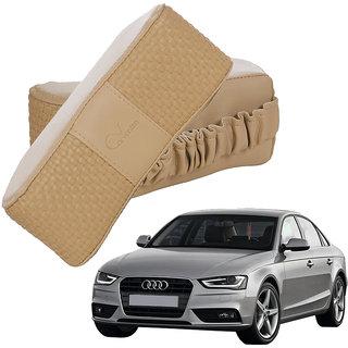 Auto Addict CV Designer Beige Neck Leatherite Car Pillow Cushion 2 Pcs for Audi A4