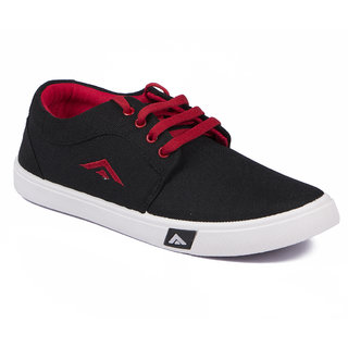 Asian Trainer Black Red Canvas Shoes For Men