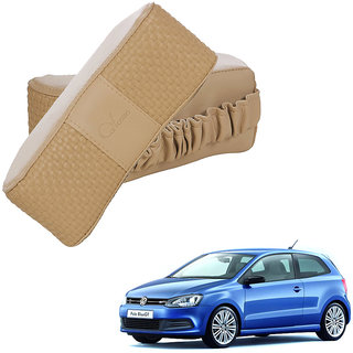 Auto Addict CV Designer Beige Neck Leatherite Car Pillow Cushion 2 Pcs for Volkswagen Polo GT