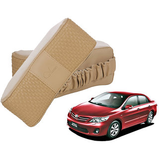 Auto Addict CV Designer Beige Neck Leatherite Car Pillow Cushion 2 Pcs for Toyota Corolla Altis