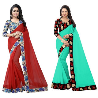Ethinista Red And Green Colored Art Silk Saree With Matching Blouse