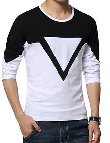 white and black full sleeve t shirt