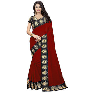 Ethinista Red Colored Art Silk Saree With Matching Blouse