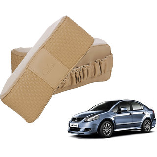 Auto Addict CV Designer Beige Neck Leatherite Car Pillow Cushion 2 Pcs for Maruti Suzuki SX4
