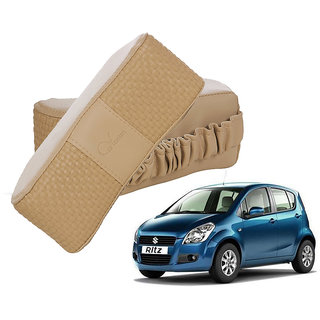 Auto Addict CV Designer Beige Neck Leatherite Car Pillow Cushion 2 Pcs for Maruti Suzuki Ritz