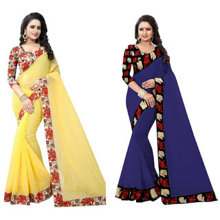 Ethinista Yellow And Dark Blue Colored Art Silk Saree With Matching Blouse