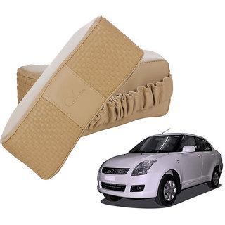 Auto Addict CV Designer Beige Neck Leatherite Car Pillow Cushion 2 Pcs for Maruti Suzuki Swift Dzire Old(2007-2011)