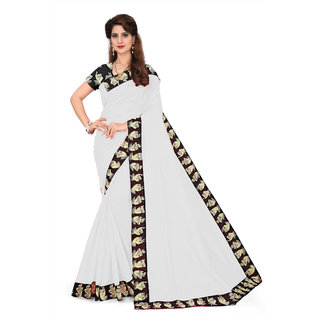 Ethinista White Colored Art Silk Saree With Matching Blouse