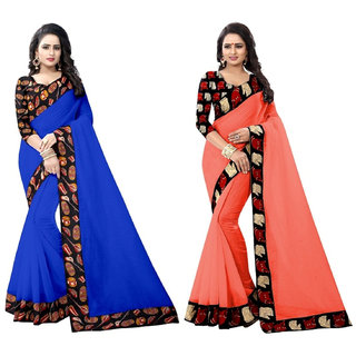 Ethinista Blue And Cream Colored Art Silk Saree With Matching Blouse