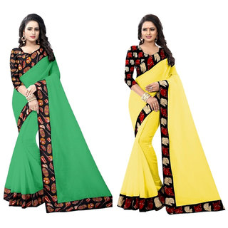 Ethinista Green And Yellow Colored Art Silk Saree With Matching Blouse