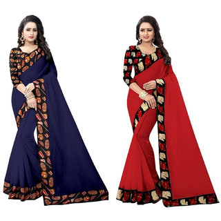Ethinista Dark Blue And Red Colored Art Silk Saree With Matching Blouse