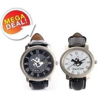 Polo Club Watch- Set Of 2- Black White Round Watch