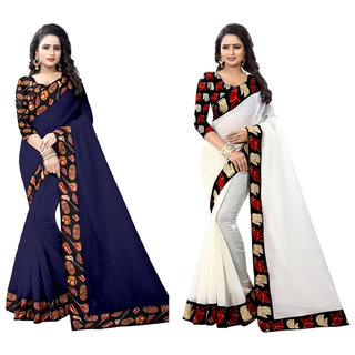 Ethinista Dark Blue And White Colored Art Silk Saree With Matching Blouse