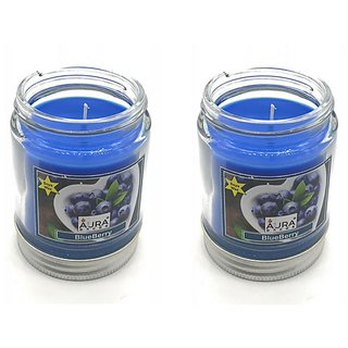 AuraDecor Pack of 2 Soy Wax Jar Candle Burning Time 50 hours Fragrance BlueBerry
