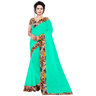 Ethinista Green Colored Art Silk Saree With Matching Blouse
